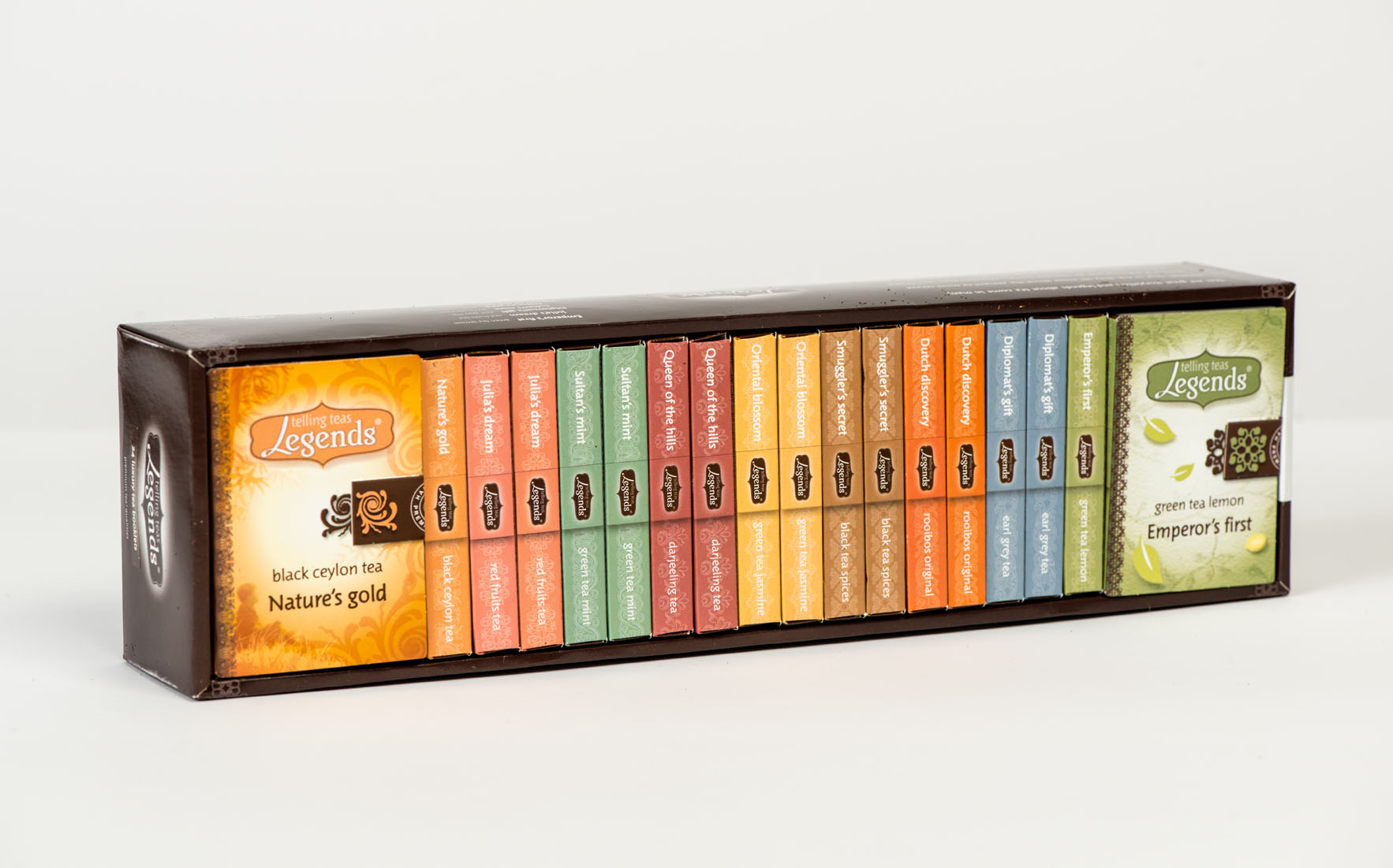 overview of the Legends Telling Teas packaging
