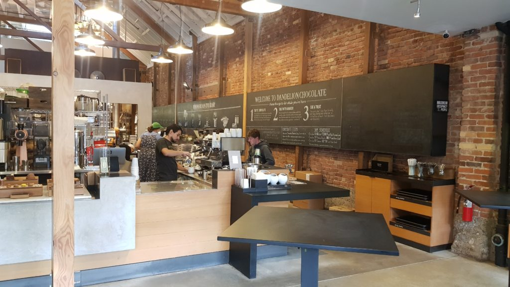 Dandelion café with a mini chocolate factory in the heart of the café